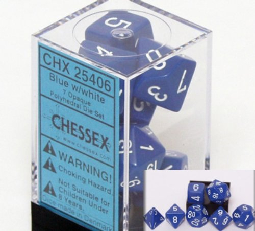 Chessex Polyhedral 7-Die Opaque Dice Set - Blue with White Numbers #25406