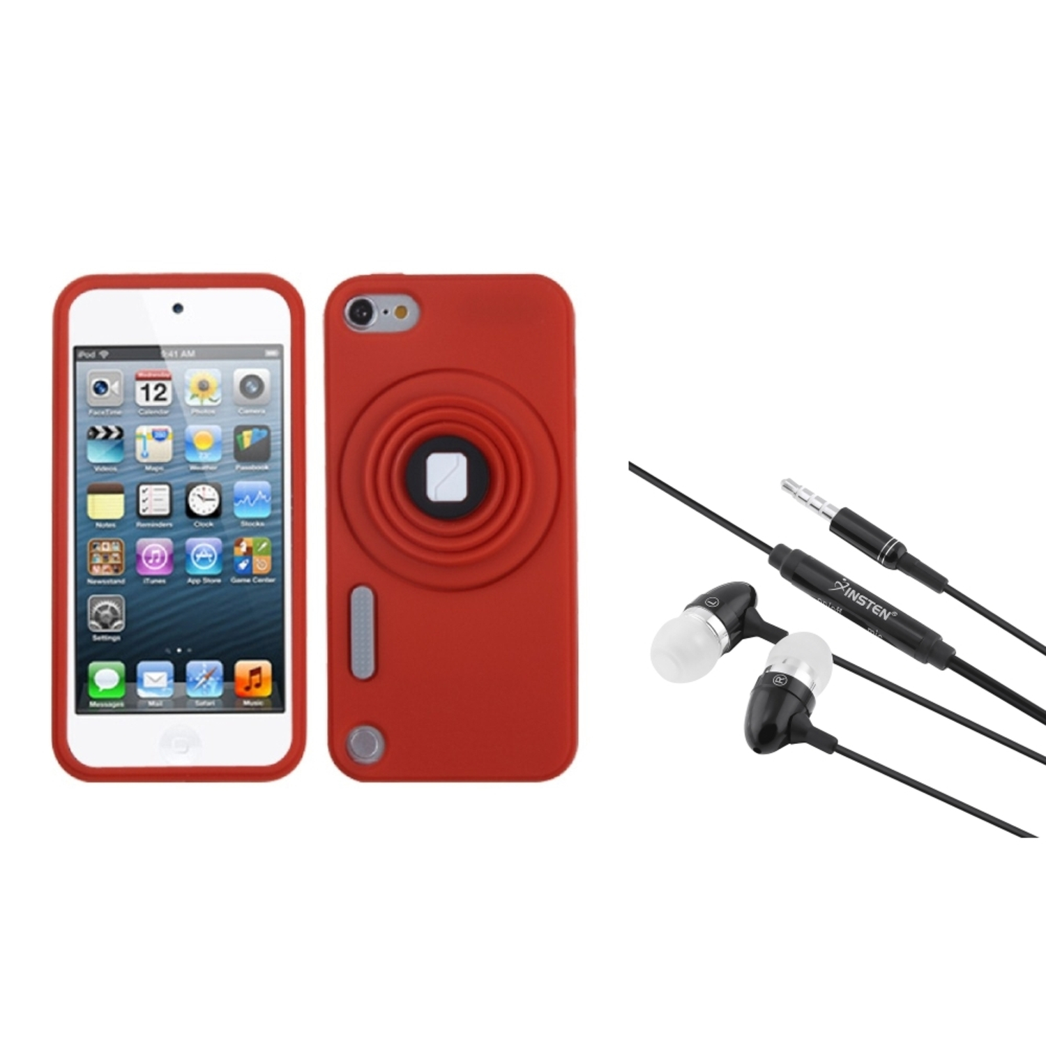 Insten Red Camera Style Stand Pastel Skin Cover (Lanyard) Case For iPod Touch 6 6G / 5 5G + 3.5mm Headset
