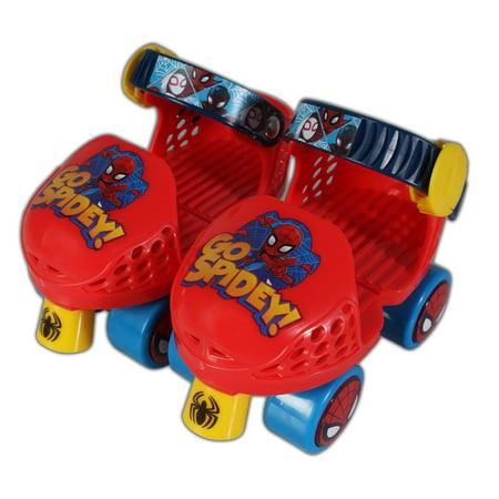 PlayWheels Spider-Man Kids Roller Skates, Junior Size 6-12 with Knee Pads Pump Junior Skates