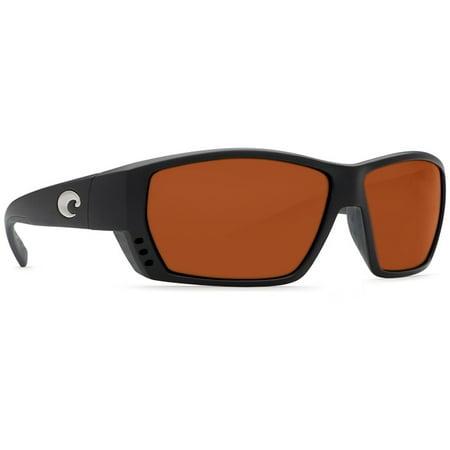 Tuna Alley C-Mate Matte Black Square Sunglasses Copper Lens 580P (Costa Sunglasses Tuna Alley)