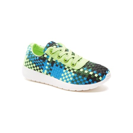 Women Green Square Pattern Lace Up Sneakers - Green Light Up Shoes