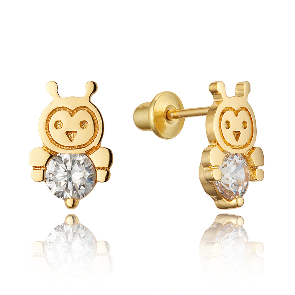14k Gold Plated Brass Bee Cubic Zirconia Screwback Baby Girls Earrings with Sterling Silver Post