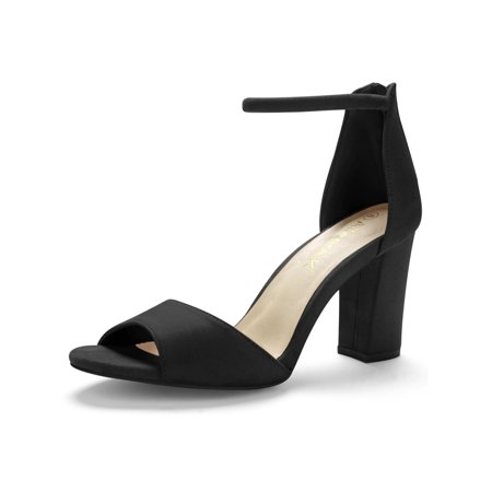 Unique Bargains Women's Zipper Back Chunky Heel Open Toe Ankle Strap Sandals (Chunky Lace Heels)
