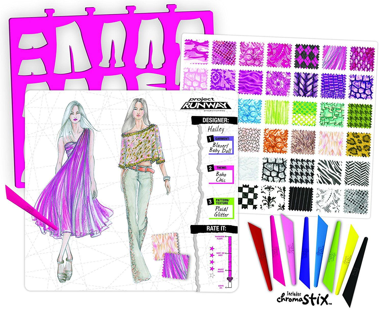 Fashion Angels Project Runway Fashion Illustration Portfolio With Chroma Stix Walmart Com Walmart Com