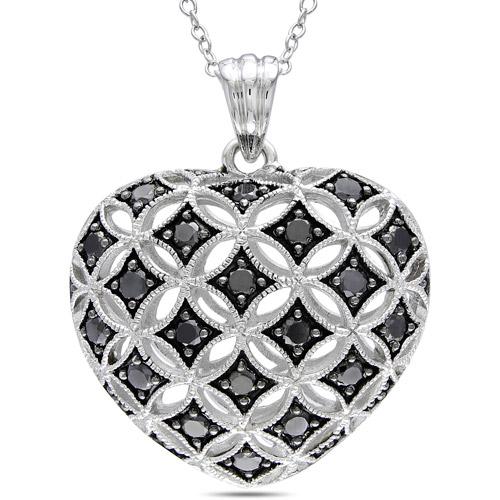 "1 Carat T.W. Black Diamond Sterling Silver Heart Pendant, 18"""