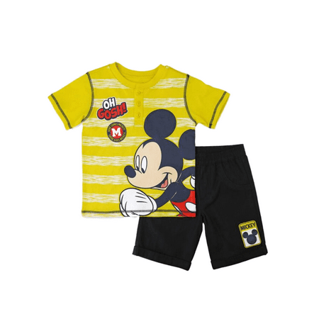 Running Outlet (Disney Infant & Toddler Boys Running Mickey Mouse Baby Outfit Yellow Set )