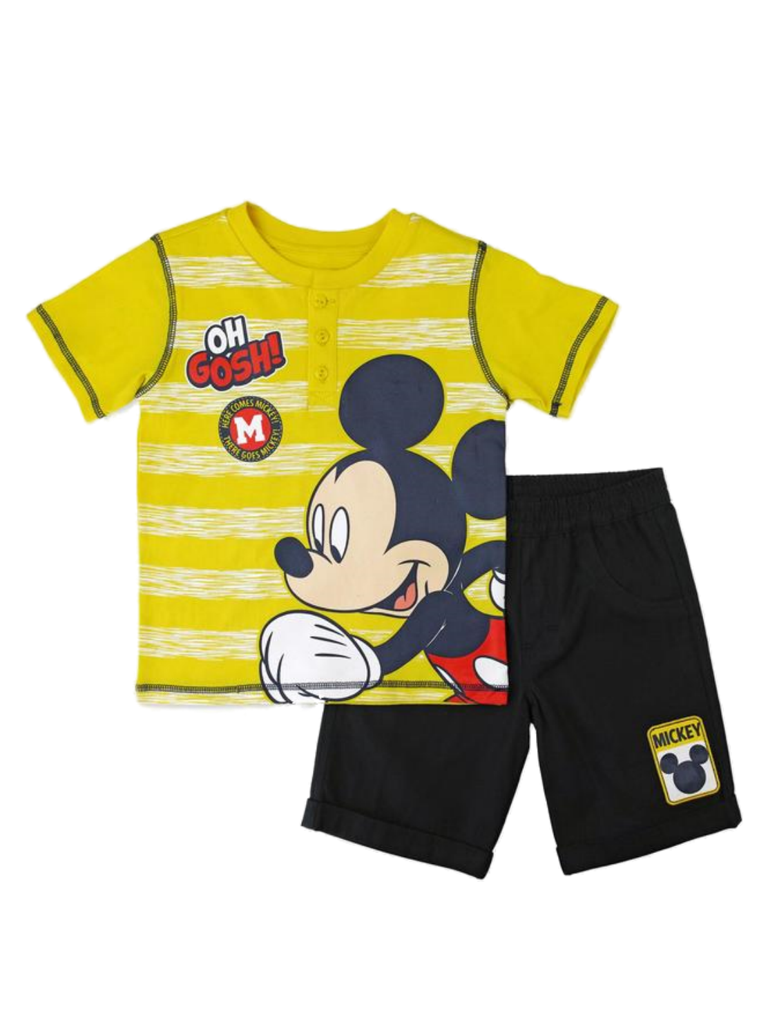 Disney Infant & Toddler Boys Running Mickey Mouse Baby Outfit Yellow Set