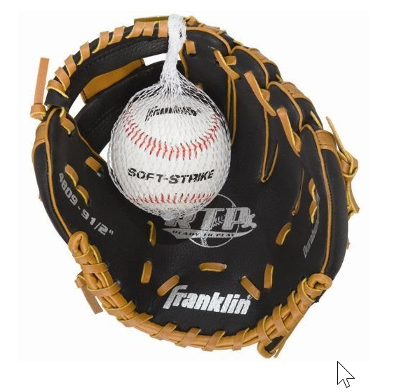 """Franklin Sports 9-1/2"""" Black and Tan PVC Right-Handed Thrower Baseball Glove with Ball"""