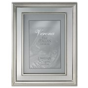 5x7 Silver Plated Metal Picture Frame - Brushed Silver Inner Panel