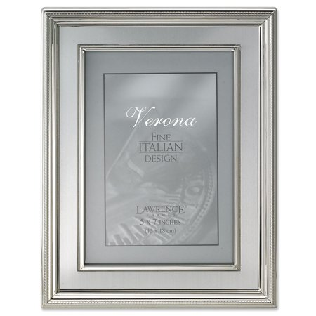 Silver Flat Panel Frame - 5x7 Silver Plated Metal Picture Frame - Brushed Silver Inner Panel