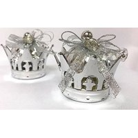 "Silver Color Plastic Gift Crowns Party Favor 2.5"" Small Empty Containers For Wedding Favors, Birthday Presents, Candy, Jewelry Souvenirs All Occasions 10 Count"