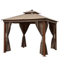 ALEKO GZC10X10W Double Roof Aluminum Gazebo with Wooden Finish and Curtain - 10 x 10 Feet - Sand