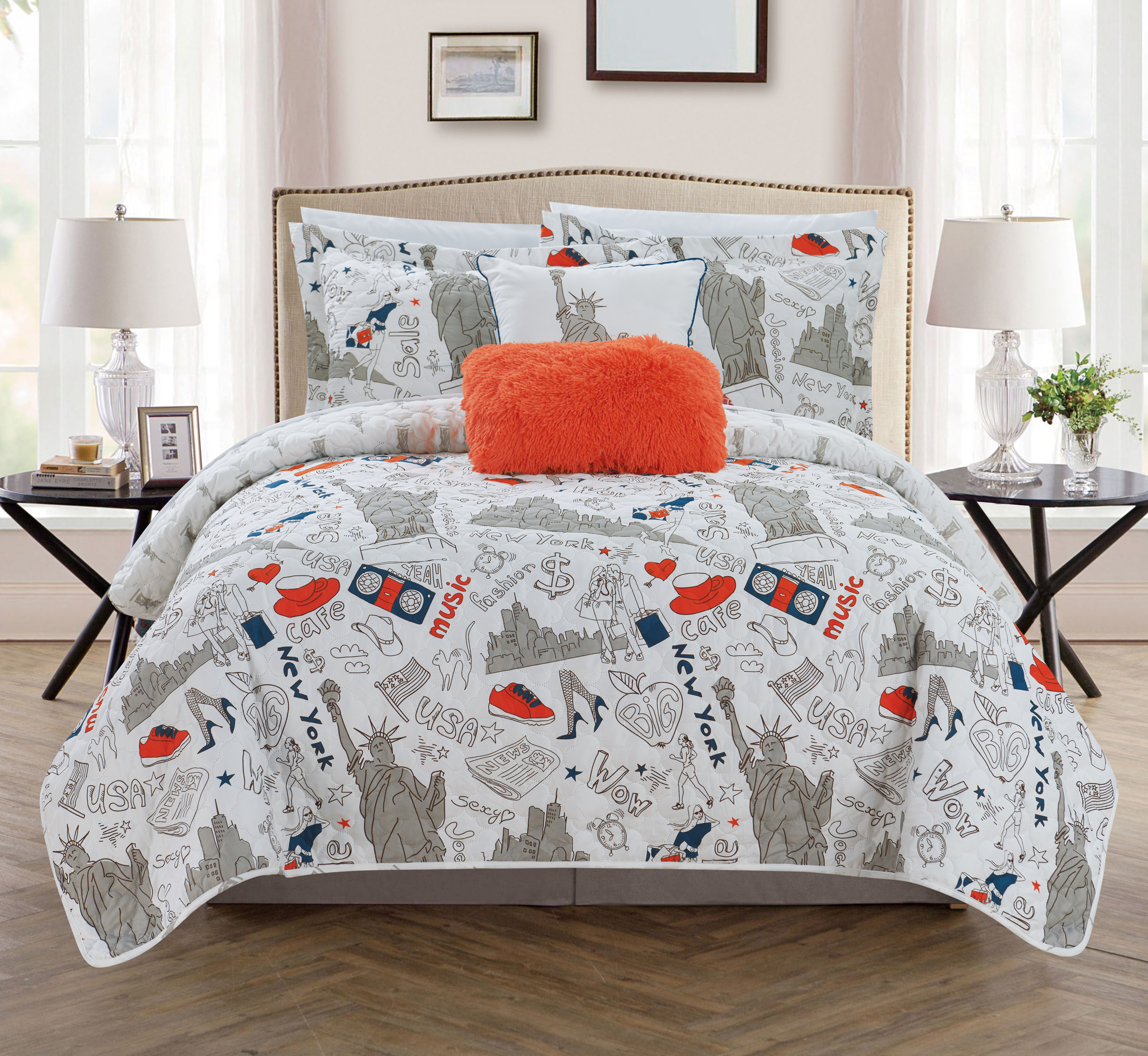 Chic Home Bay Park 4 Piece Reversible Bay Park City Design Quilt Set