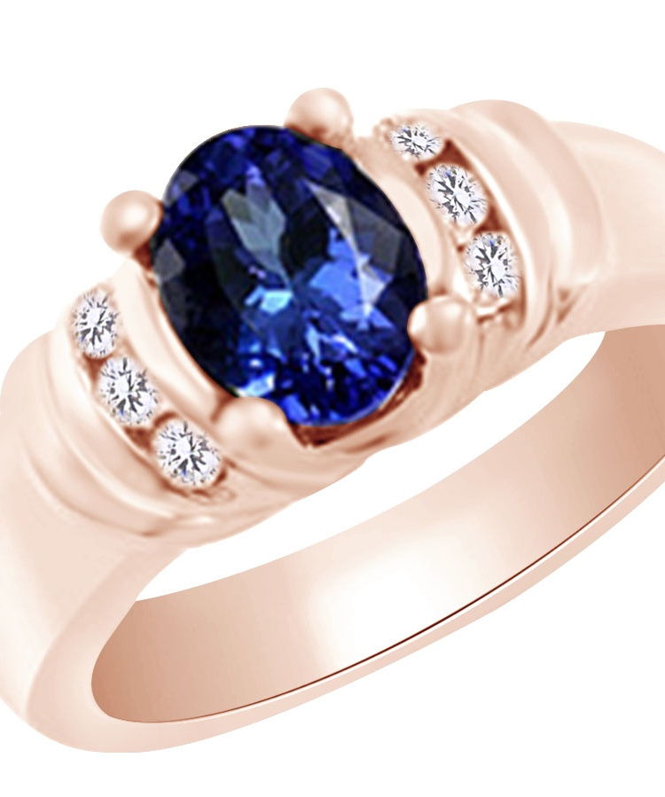 (1.2 cttw) Simulated Tanzanite & White Natural Diamond Engagement Wedding Ring In 14K Solid Rose Gold With, Ring Size 4 by Jewel Zone US