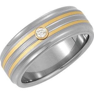 Jewels By Lux Titanium & 14K Yellow Inlay 8mm .07 CTW Diamond Bezel Ridged Band Size 10 (Titanium Bezel Faceted Gem)