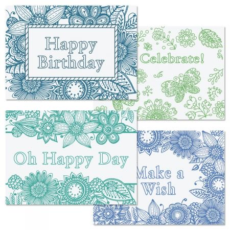 Coloring Birthday Greeting Cards - Set of 8 (2 designs), Large 5\