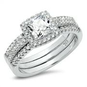 Sz 7 Sterling Silver Cushion Cubic Zirconia CZ 2Pc Halo Wedding Engagement Ring Insert Set