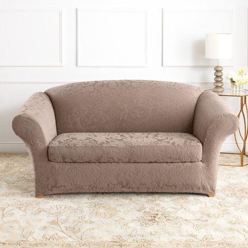 Sure Fit Stretch Jacquard Damask Box Cushion Loveseat Slipcover