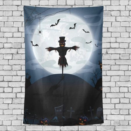 POPCreation Halloween Night Castle Pumpkins Tombstone Wall Tapestry Scarecrow Dorm Throw Bedroom Living Room Decorative Hanging 40x60 - Scarecrow Wall Hanging