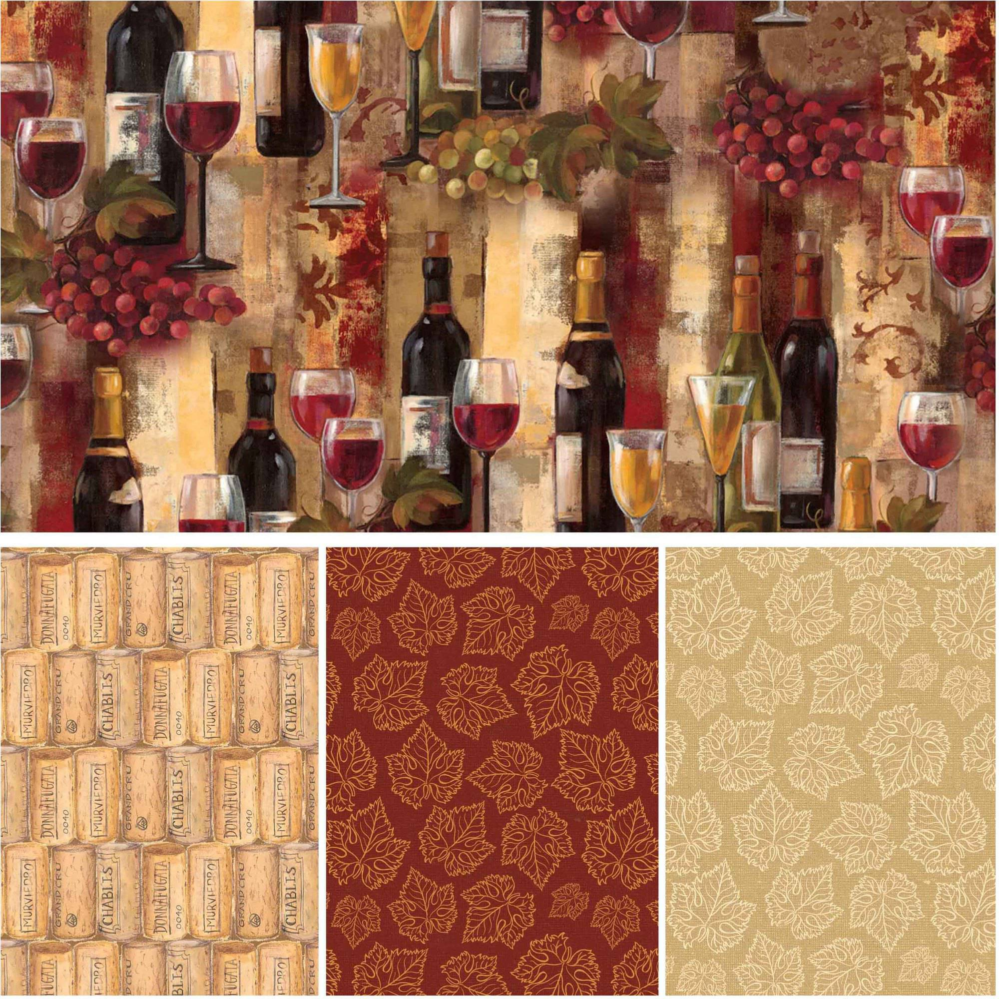 "David Textiles Wine Splendor Collection 44"" Cotton Fabric By The Yard"