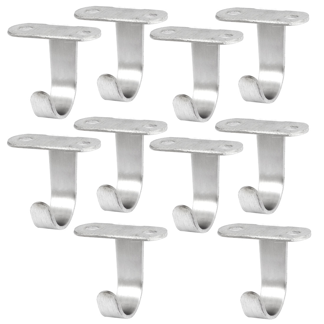 Unique Bargains 10pcs Stainless Steel Wall Hooks Hanger for Wardrobe Shed Top Ceiling