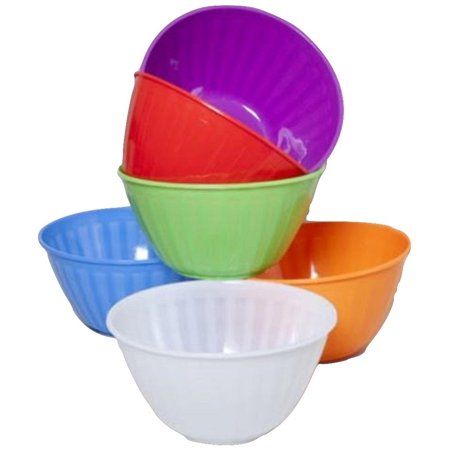 Large Plastic Ribbed Serving Bowls BPA Free Multicolor Set of 6](Large Plastic Serving Bowl)
