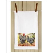 """Set of 3 Rural Farm Black Rooster and Hen Print Flour Sack Kitchen Hand Towels 29"""""""
