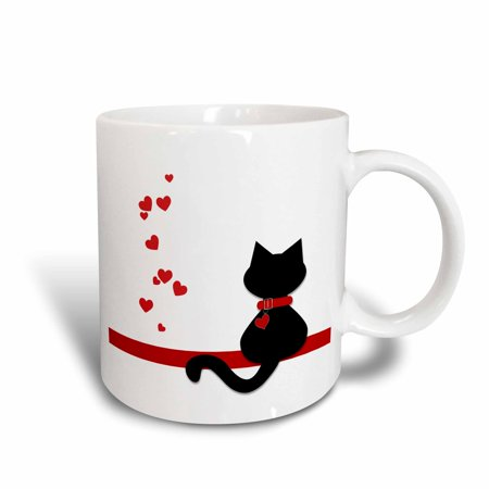 3dRose Pet Lovers Red Hearts Black Kitty Cat, Ceramic Mug, 11-ounce