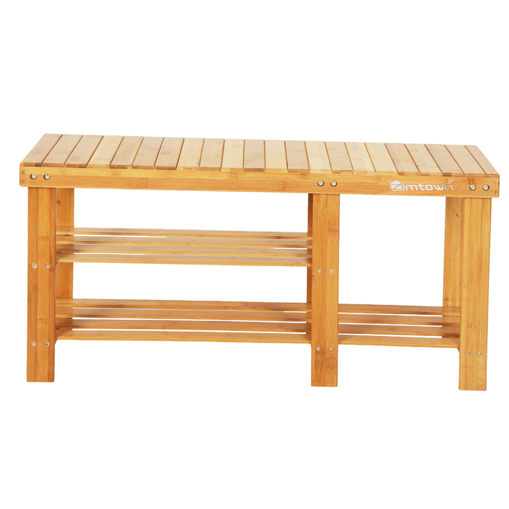 Zimtown 35 inch Strip Pattern Tiers Bamboo Stool Shoe Rack with Boots Compartment Wood Color