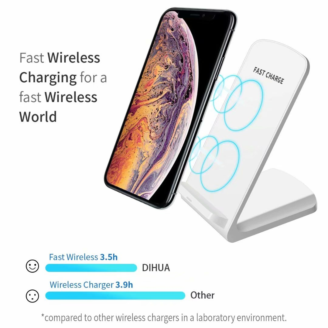 Cell Phone Wireless Charger, Qi Fast Wireless Charging Pad Stand for iPhone Xs Max/XS/XR/X, LG G7 ThinQ / V40 ThinQ, Samsung Galaxy Note 9/S9/S9 Plus, Google Pixel 3/4 XL All Qi-Enabled Devices