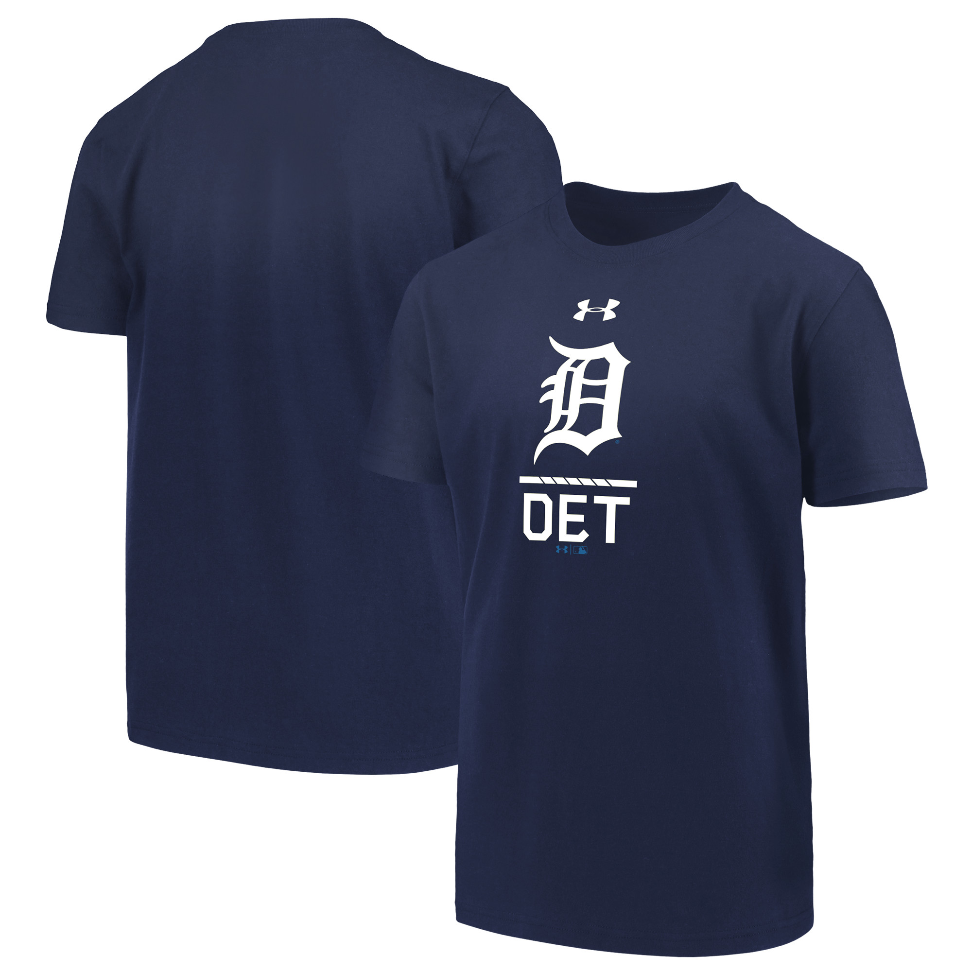 Detroit Tigers Under Armour Youth Armour Lock-Up Charged Performance T-Shirt - Navy