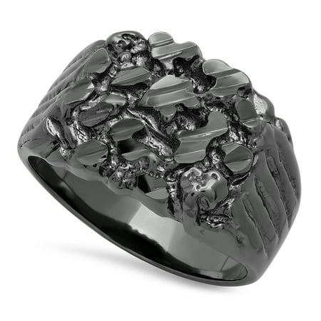 The Bling Factory Men's Black-Ion Plated Chunky Nugget Pinky Ring, Size 7 + Jewelry Polishing Cloth