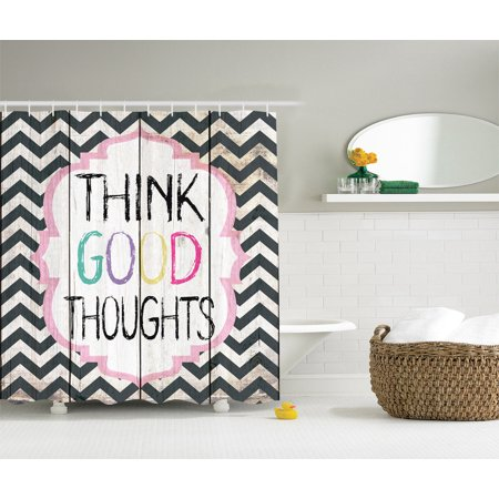 Curtains Ideas chevron stripe shower curtain : Think Good Thoughts Inspirational Funny Quote Chevron Stripe ...