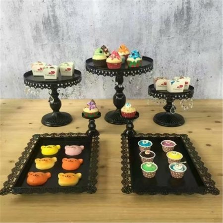 7Pcs Black Metal Cake Stand Wedding Dessert Cupcake Holder Display Decor - Decorative Cupcake Holders