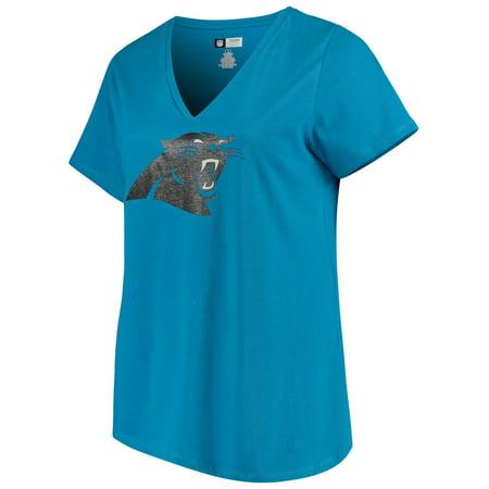 Women's Majestic Blue Carolina Panthers Plus Size Logo V-Neck - Carolina Panthers Womens Stainless Steel
