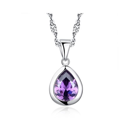 Gemstone Yellow Gold Amethyst Pendants - Sterling Silver 3 ct. Created Purple Amethyst Pear Shape Gemstone Pendant Necklace with Chain
