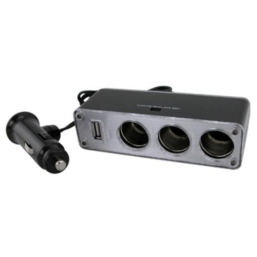 Insten Three-Way Car Cigarette Lighter Socket Splitter w/ USB Port, Black