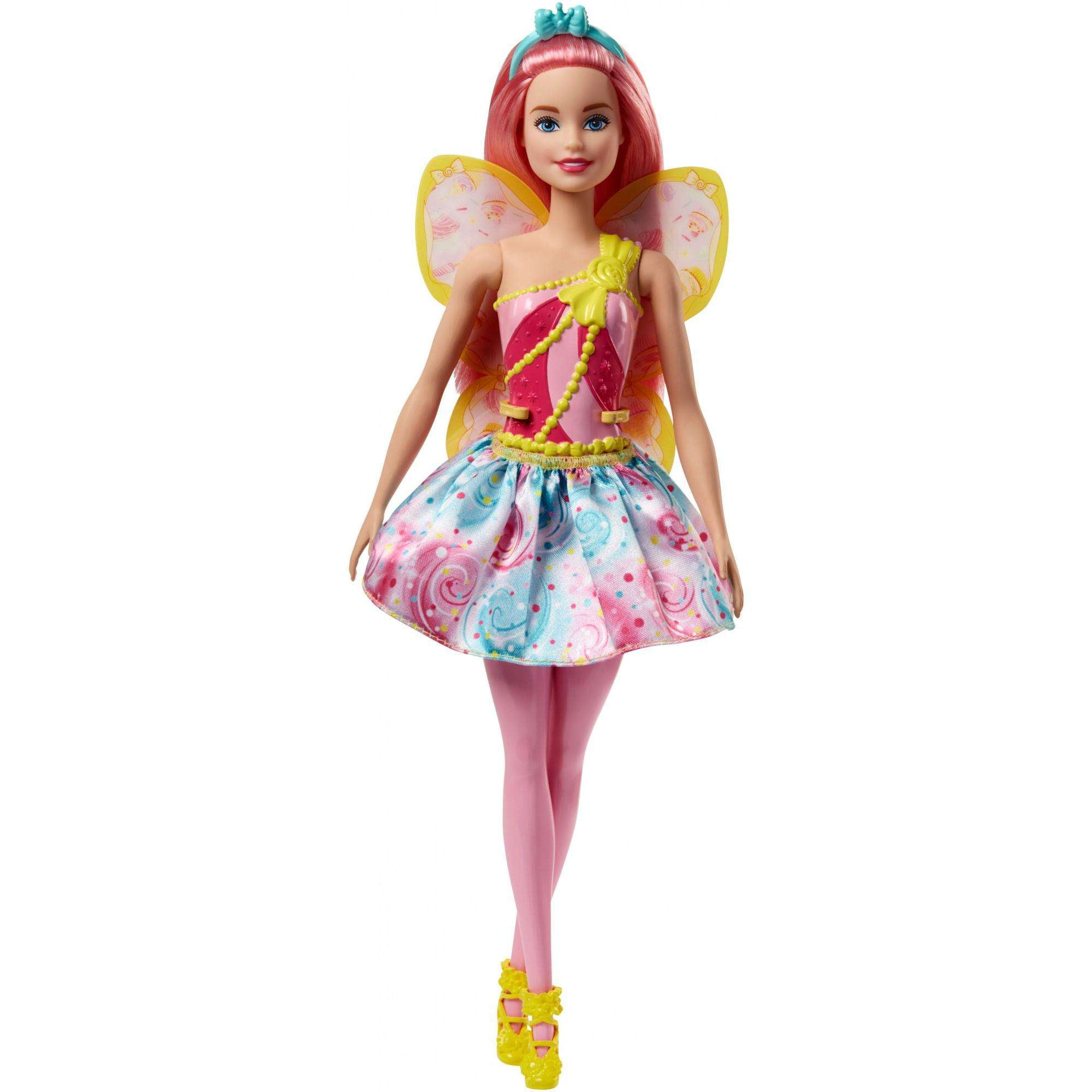 Barbie Dreamtopia Fairy Doll with Pink Hair & Candy-Themed Wings by Mattel