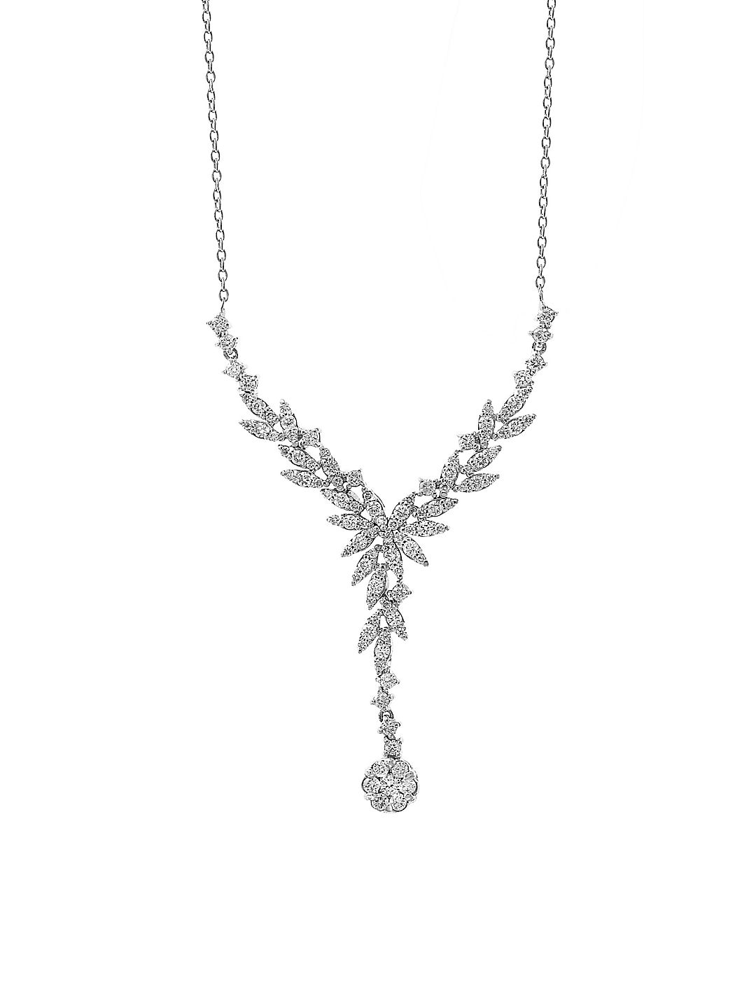 14K White Gold and White Diamond Y-Necklace