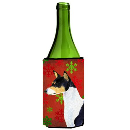 Carolines Treasures SS4721LITERK Basenji Red And Green Snowflakes Holiday Christmas Wine bottle sleeve - 24 oz. - image 1 of 1