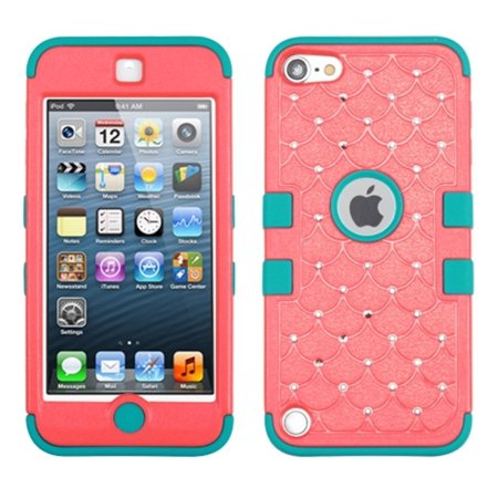 Insten Baby Red Tropical Teal Tuff Hybrid Soft Hard Case With Diamonds For Apple Ipod Touch 6 6Th 5 5Th Gen