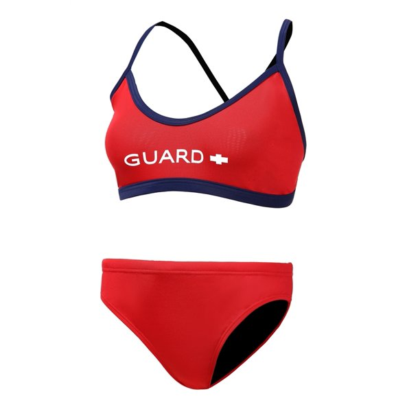 Adoretex Women's Guard Cross Back Workout Bikini Two-Piece Swimsuit in Red/Navy, Size XX-Small
