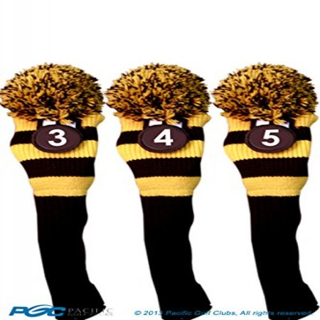 Utility Headcover - Majek #3, #4, & #5 Hybrid Combo Pack Rescue Utility Black & Yellow Golf Headcover Knit Pom Pom Retro Classic Vintage Head Cover