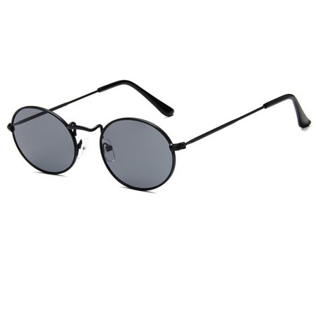Unisex Outdoor Retro Style Sun Glasses Stylish Metal Frame Oval Color Lens UV400 Sunglasses for Men Women