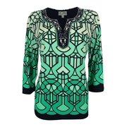 JM Collection Women's 3/4 Sleeve Beaded Split Neck Jersey Tunic Top