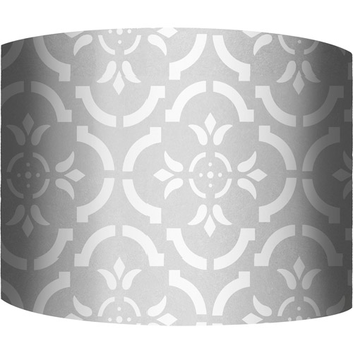 "12"" Drum Lampshade, White and Silver V by"