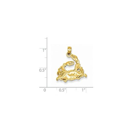 Yellow Gold Crab Charm - 14K Yellow Gold Open-Backed Blue Crab Charm Pendant MSRP $424