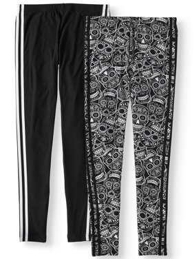 8130662300931 Product Image Juniors  Side Stripe Print and Solid Ankle Leggings 2-Pack  Value Bundle