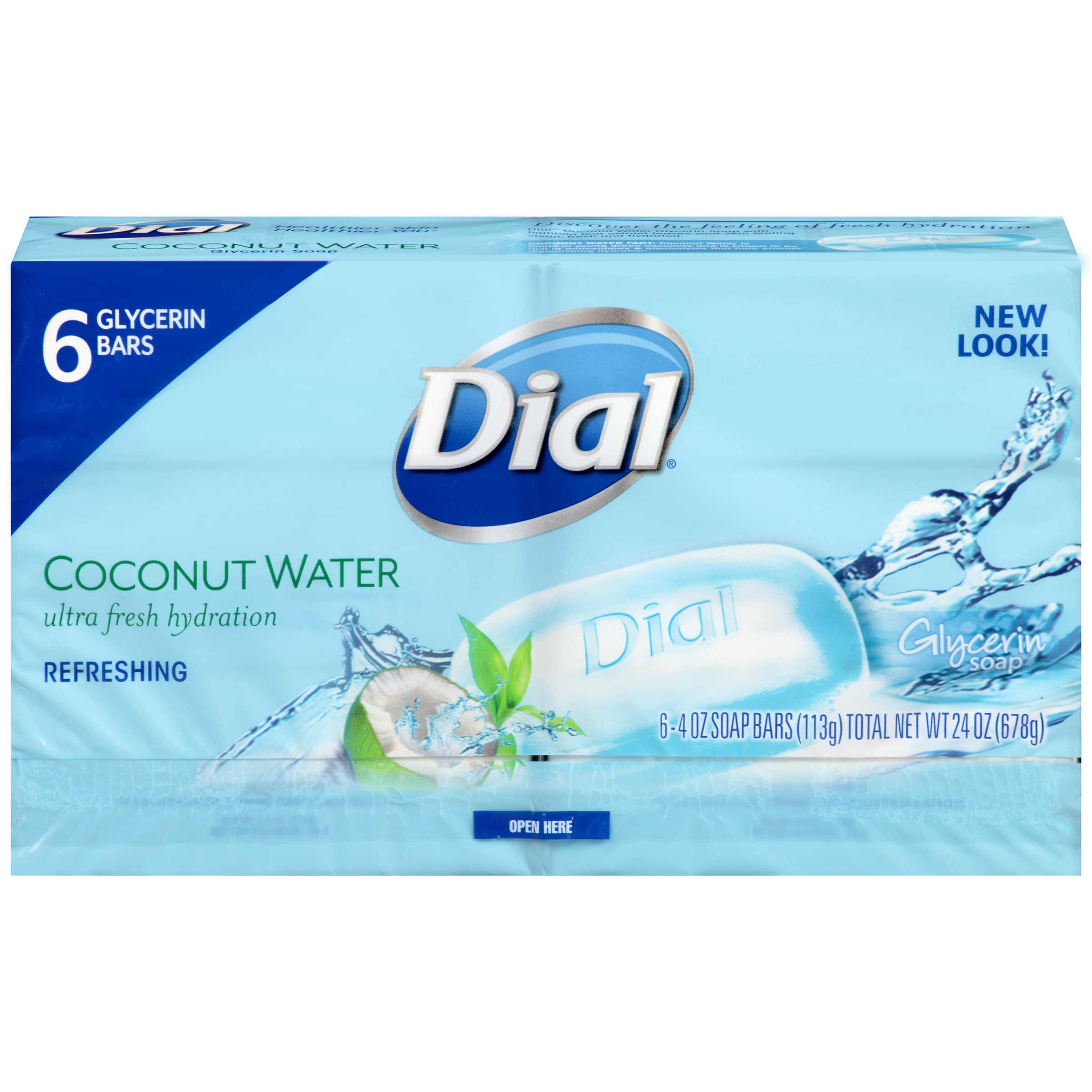 Dial coconut water glycerin soap, 4 oz, 6 count
