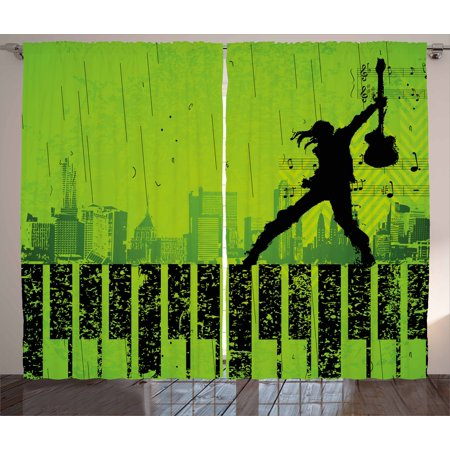 Popstar Party Curtains 2 Panels Set  Music In The City Theme Singer With Electric Guitar On Grunge Backdrop  Window Drapes For Living Room Bedroom  108W X 108L Inches  Lime Green Black  By Ambesonne